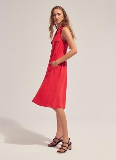 Monamoda Safari Keten Gömlek Elbise Kırmızı